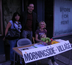 In the Fall of 2009, these Morningside Village Volunteers were tabling on Broadway between 110th and 111th Streets to increase their numbers and tell passersby about Morningside Village. Photo by Irene Zola